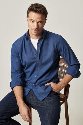 ALTINYILDIZ CLASSICS Erkek Lacivert Tailored Slim Fit Düğmeli Yaka Flanel Kışlık Gömlek