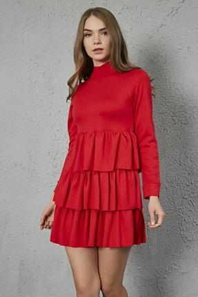 Sateen Kadın Kırmızı Uzun Kol Kat Detay Kısa Elbise