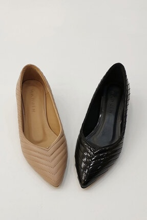 Marjin Kadın Karvelo Klasik Topuklu Ayakkabısiyah Rugan