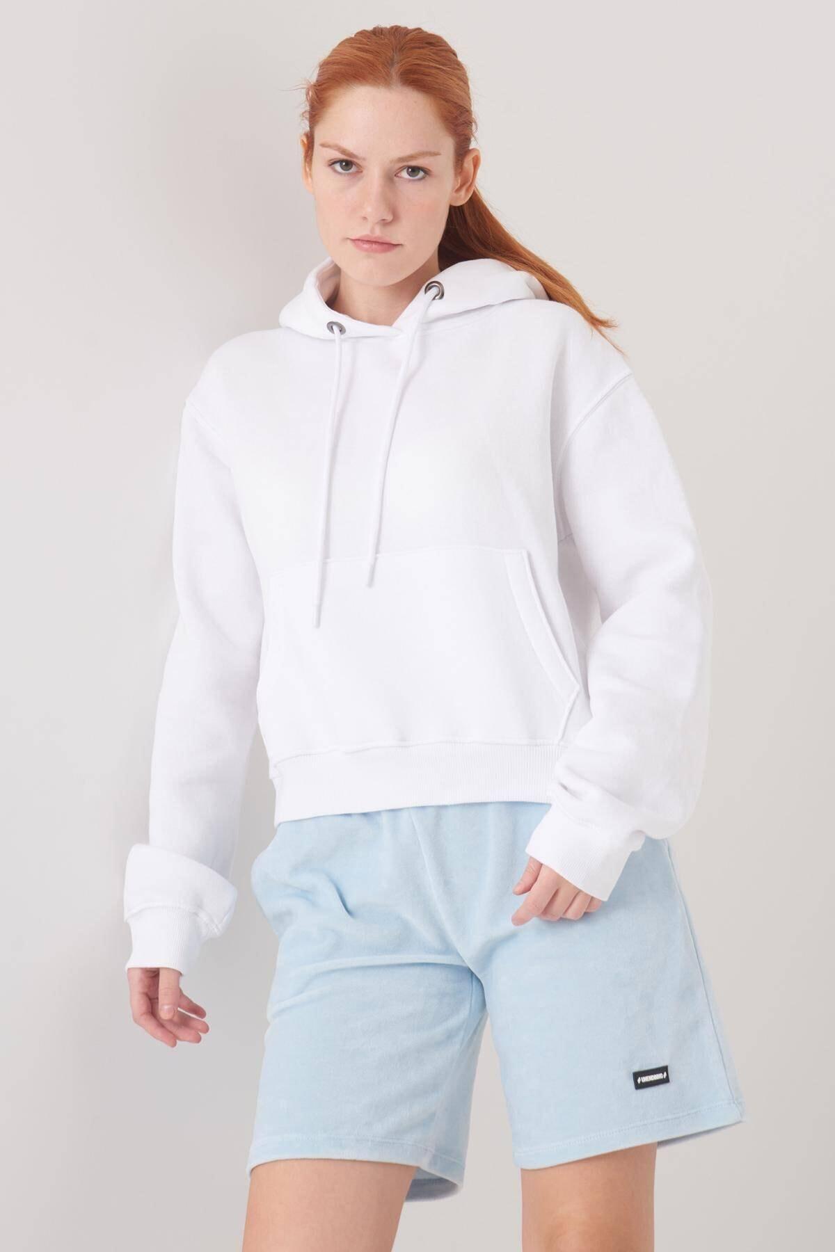 Addax Kadın Beyaz Cep Detaylı Sweat S0818 - F11 ADX-0000021306 1