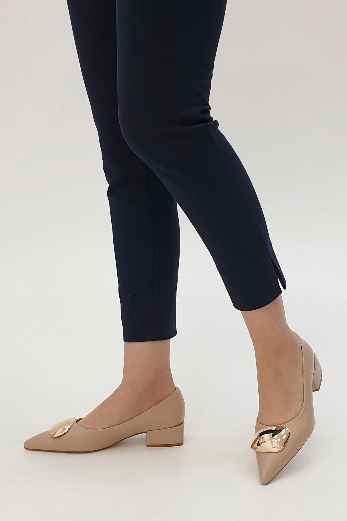 Marjin Kadın Bej Linva Günlük Klasik Topuklu Ayakkabı 2