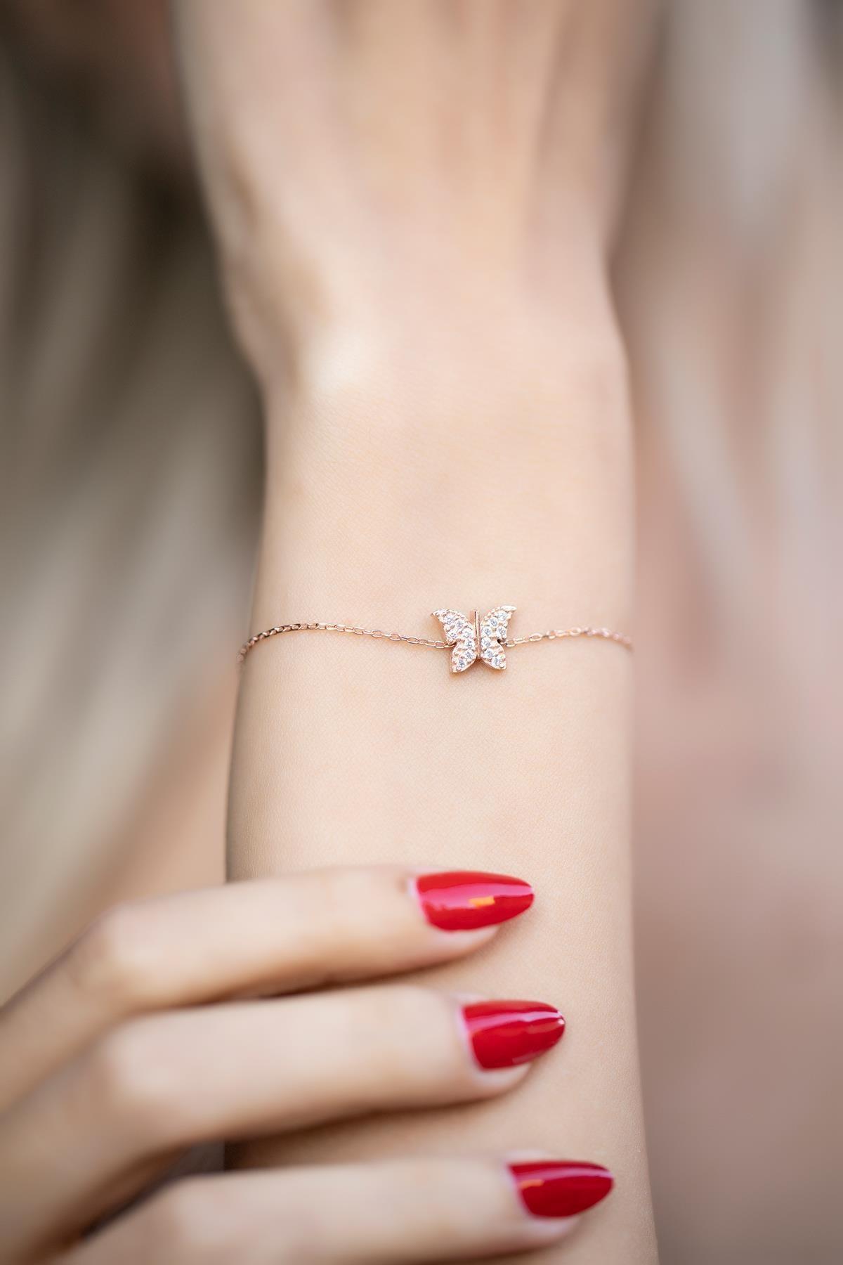 İzla Design Kadın Kelebek Model Zirkon Taşlı Rose Kaplama Gümüş Bileklik İZLASLVR00368