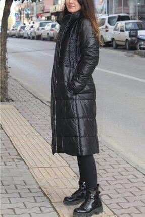 Orhan Kadın Siyah Uzun Şişme Kaban