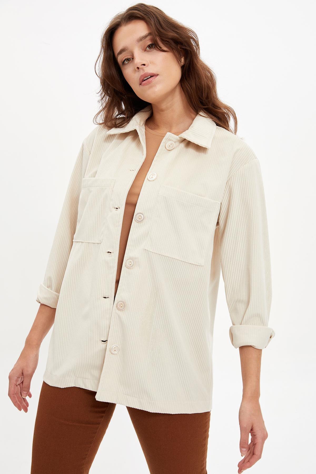 DeFacto Kadın Cep Detaylı Relax Fit Gömlek Tunik
