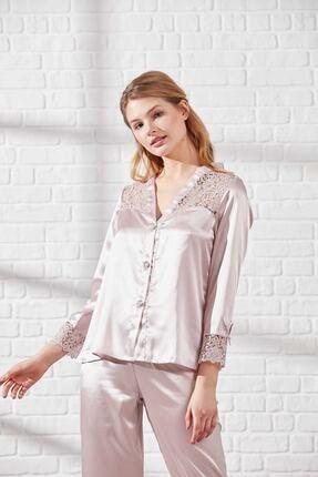 Pierre Cardin Kadın Pudra 6 Parça Dantel Detaylı Saten Gecelik-sabahlık-pijama-şort Çeyiz Seti 6625