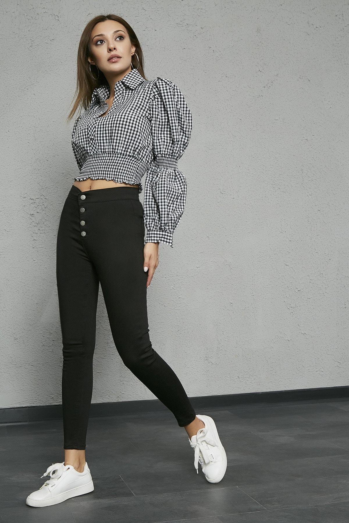 Sateen Kadın Siyah Düğme Detay Cepli Pantolon Tayt 2