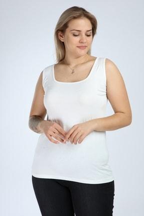 Moda Cazibe Kadın Ekru Kare Yaka Kalın Askılı Atlet Bluz