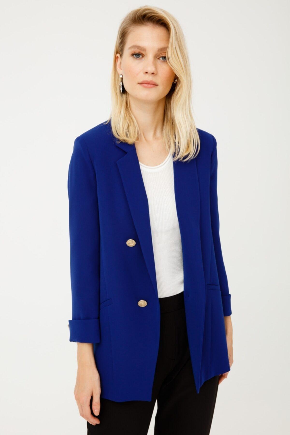 Ekol Kadın Lacivert Düğmeli Blazer Ceket 2