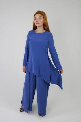 Loreen Kadın Saks Mavisi Arkası Fermuarlı Tunik Pantolon İkili Takım