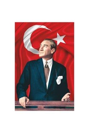 ZC Bayrak Atatürk Baskılı Türk Bayrağı 150x225 cm Raşel Kumaş Dijital Baskı