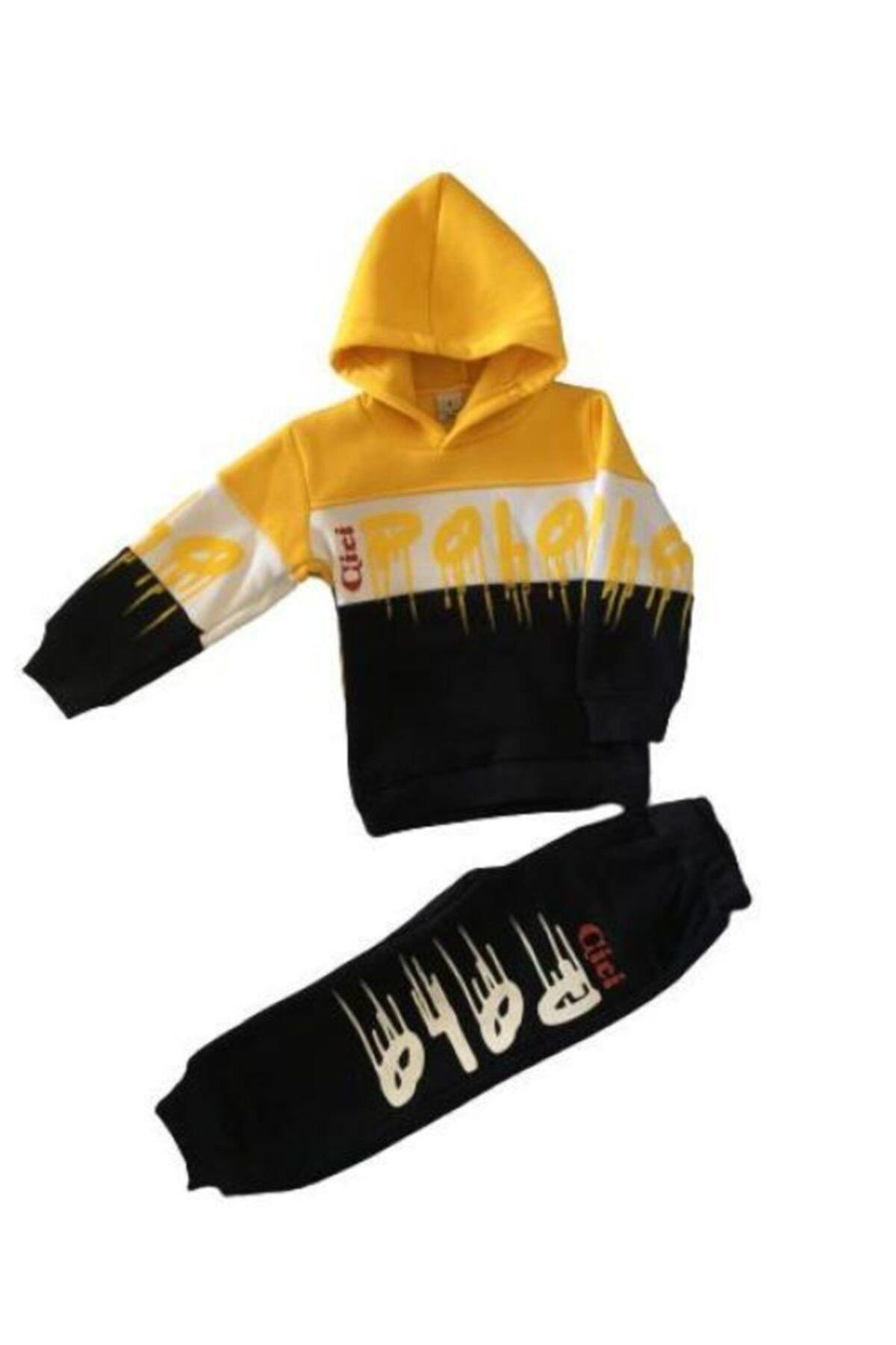 CP Erkek Çocuk Siyah Sarı Baskılı 2 li Takım 1
