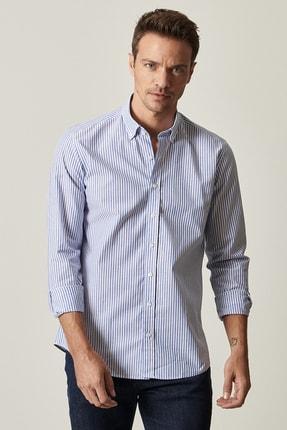 ALTINYILDIZ CLASSICS Erkek Tailored Slim Fit Dar Kesim Düğmeli Yaka Koton Çizgili Mavi-Beyaz Gömlek