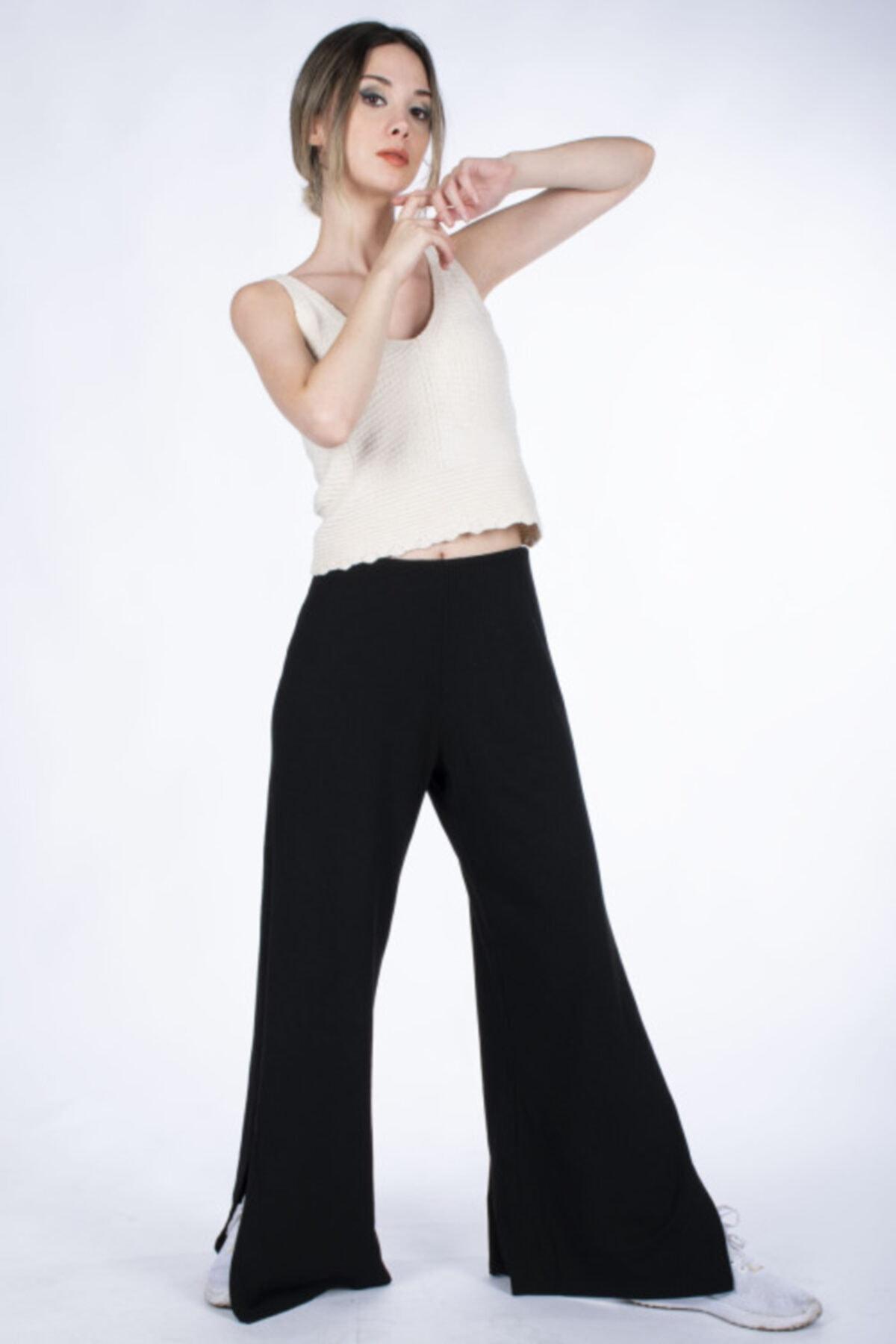 Vision Kadın Siyah Yırtmaçlı Fitilli Triko Pantolon 1