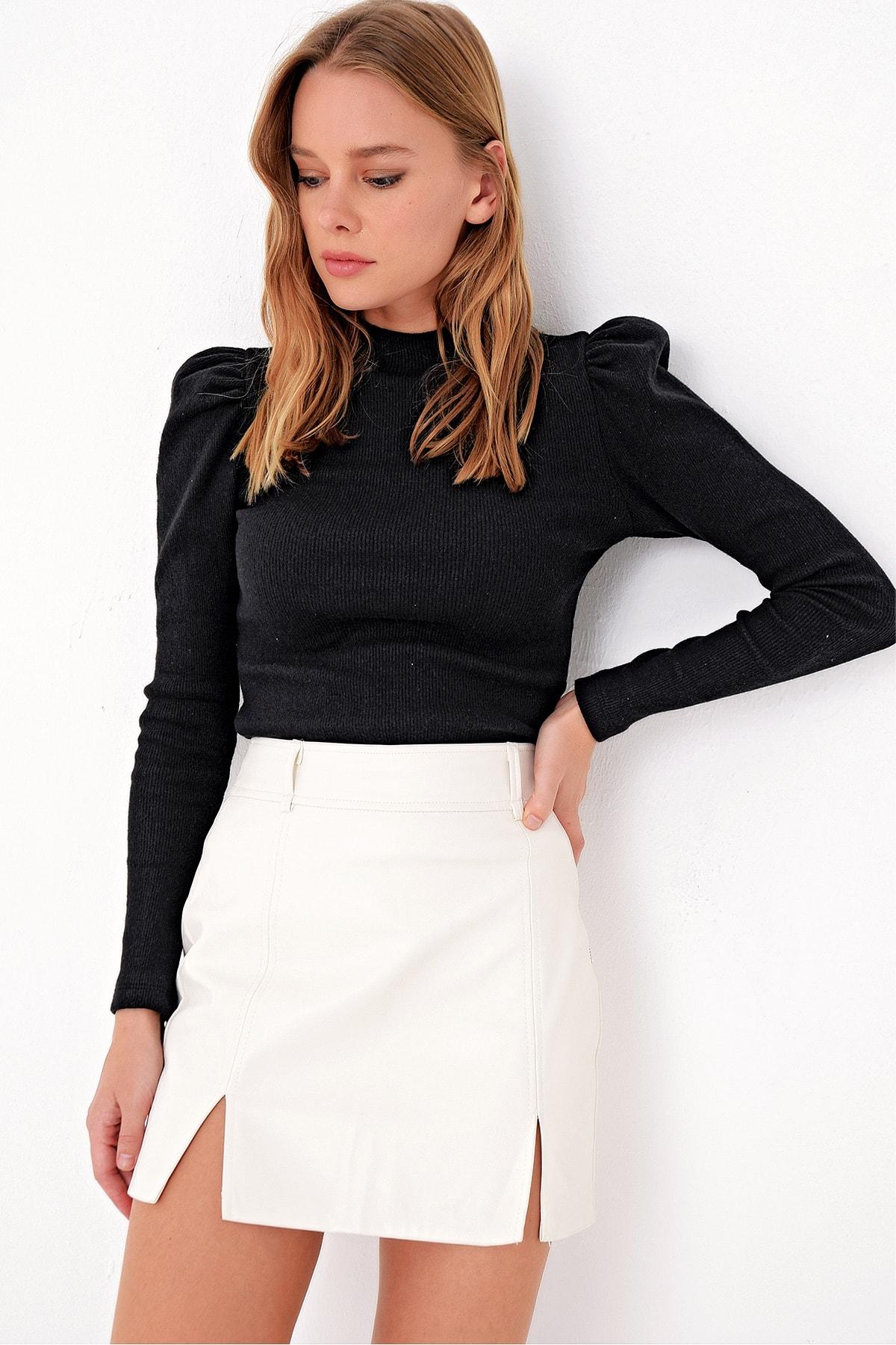 Trend Alaçatı Stili Kadın Siyah Prenses Kol Yarım Balıkçı Şardonlu Crop Bluz ALC-X5042 2