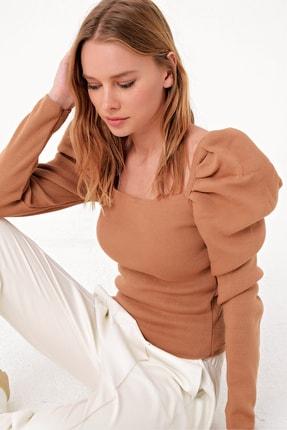 Trend Alaçatı Stili Kadın Bisküvi Kare Yaka Prenses Kol Triko Kazak ALC-X5056