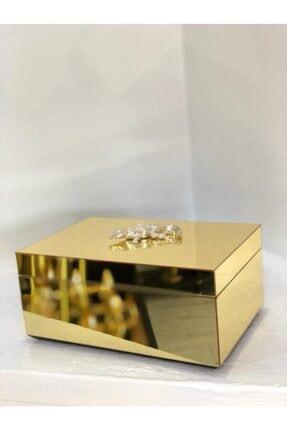 irayhomedecor Gold Mika Ayna Kaplamalı Mücevher Kutusu