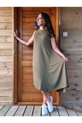 BEBE PLUS Kadın Haki Asimetrik Kesim Elbise
