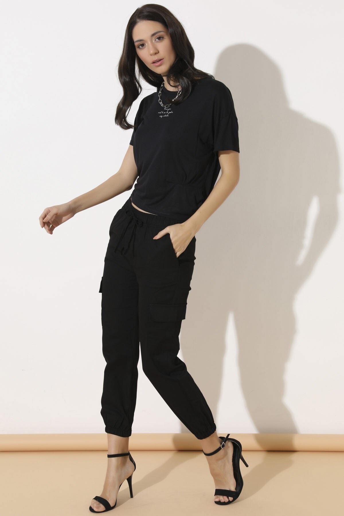 Arma Life Kadın Siyah Kargo Cep Pantolon 1