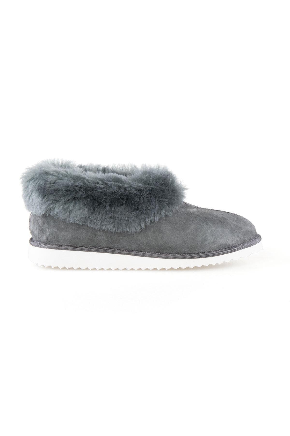 Pegia Kadın Gri Kürklü  Ev Ayakkabısı 191100 1
