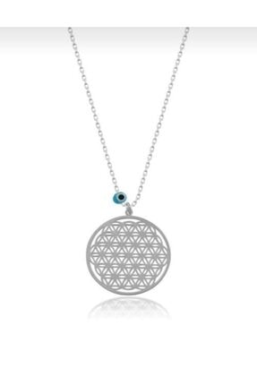 takı tak silver Yaşam Çiçeği Nazar Boncuklu 925 Ayar Gümüş Kolye