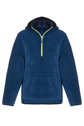 ASL Kids Colors Unisex Çocuk İndigo Kapüşonlu Polar Ceket Sweatshirt
