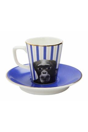Porland Wild Life Monkey Tabaklı Kahve Fincanı 75cc