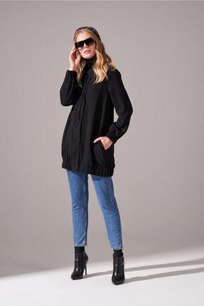 Mizalle Kadın Siyah Fermuarlı Krep Ceket