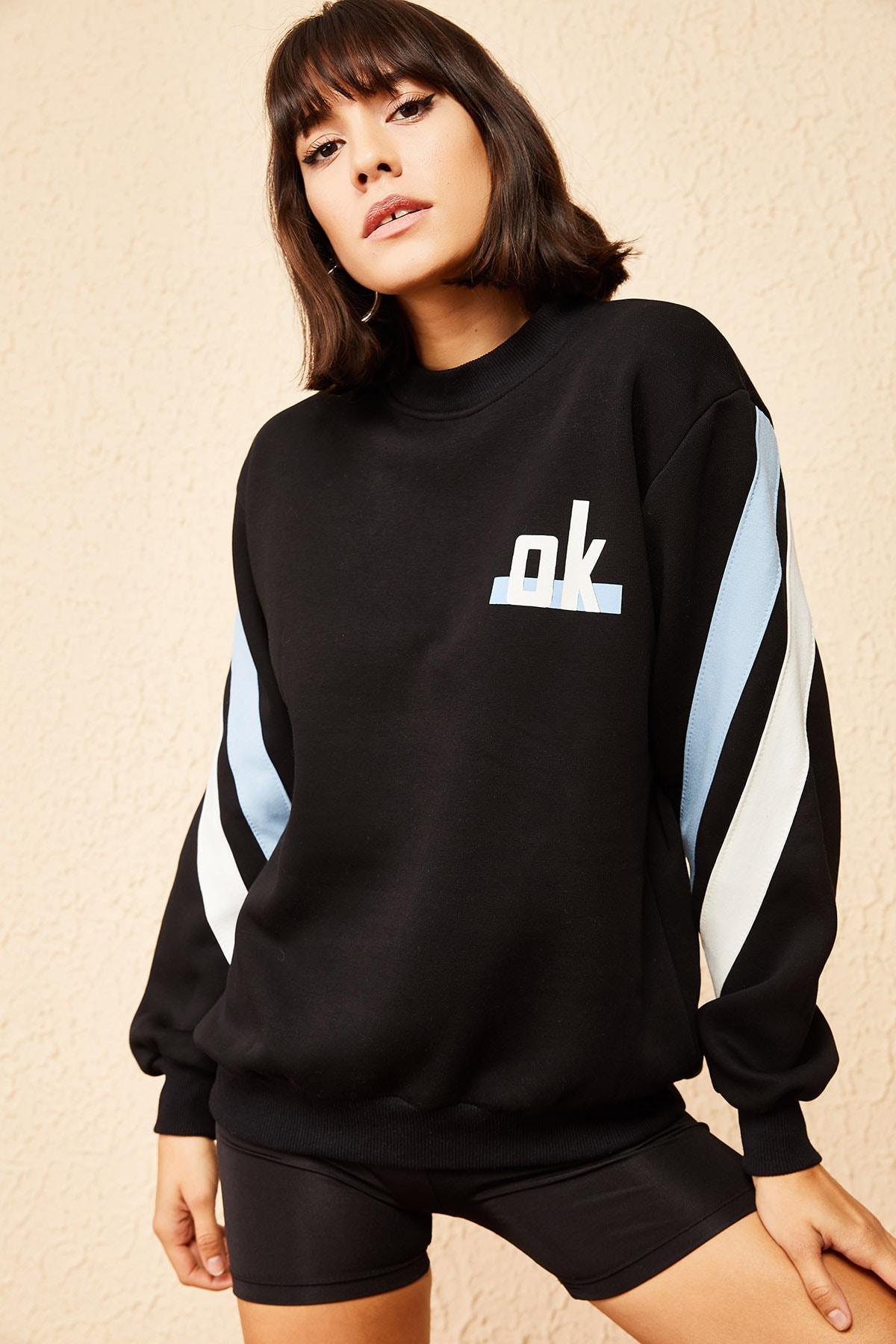 Bianco Lucci Kadın Siyah Ok Baskılı 3 İplik Sweatshirt 10161009