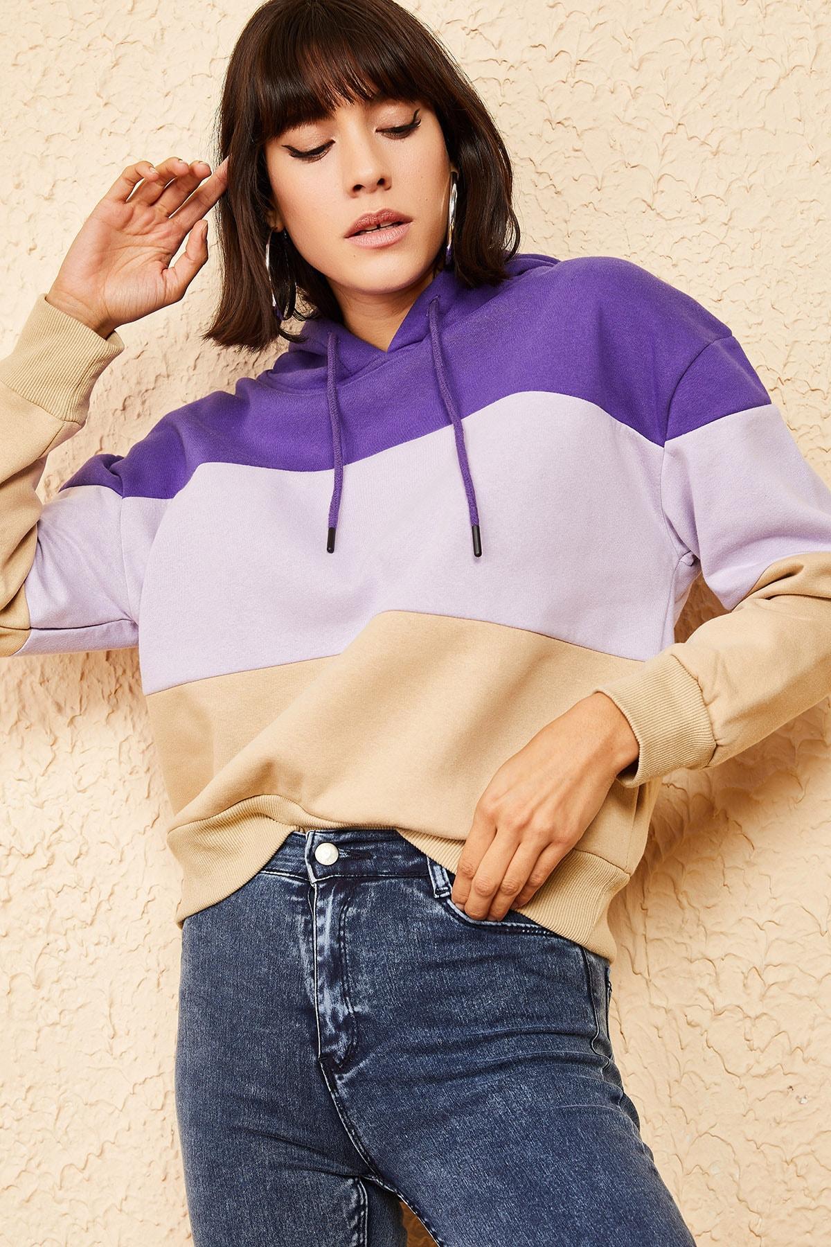 Bianco Lucci Kadın Multi Kapüşonlu 3 Renkli Sweatshirt 10161005
