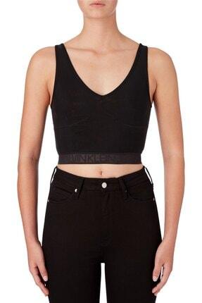 Calvin Klein Kadın Siyah Mesh Logo Tape Cropped Top