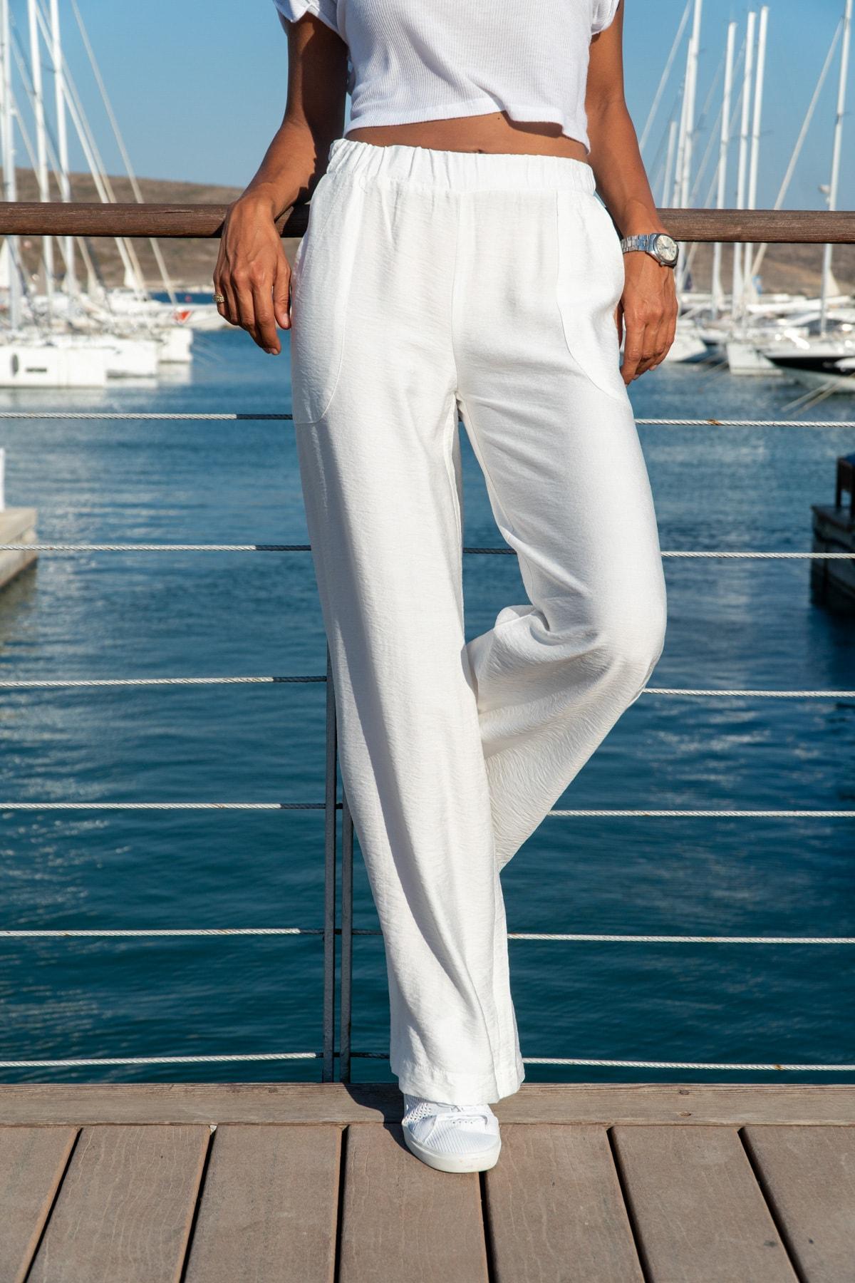Güneşkızı Kadın Beyaz Keten Beli Lastikli Salaş Pantolon GK-BST2933