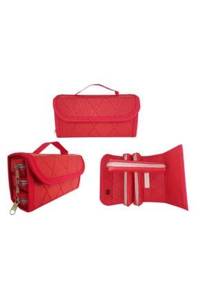 Limmy 3 Bölmeli Çantalı Mini Sosis Kalemlik Kalem Kutusu- Kırmızı