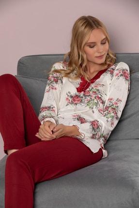 STRAWBERRY Kadın Desenli Pamuklu Viskon Pijama Takimi