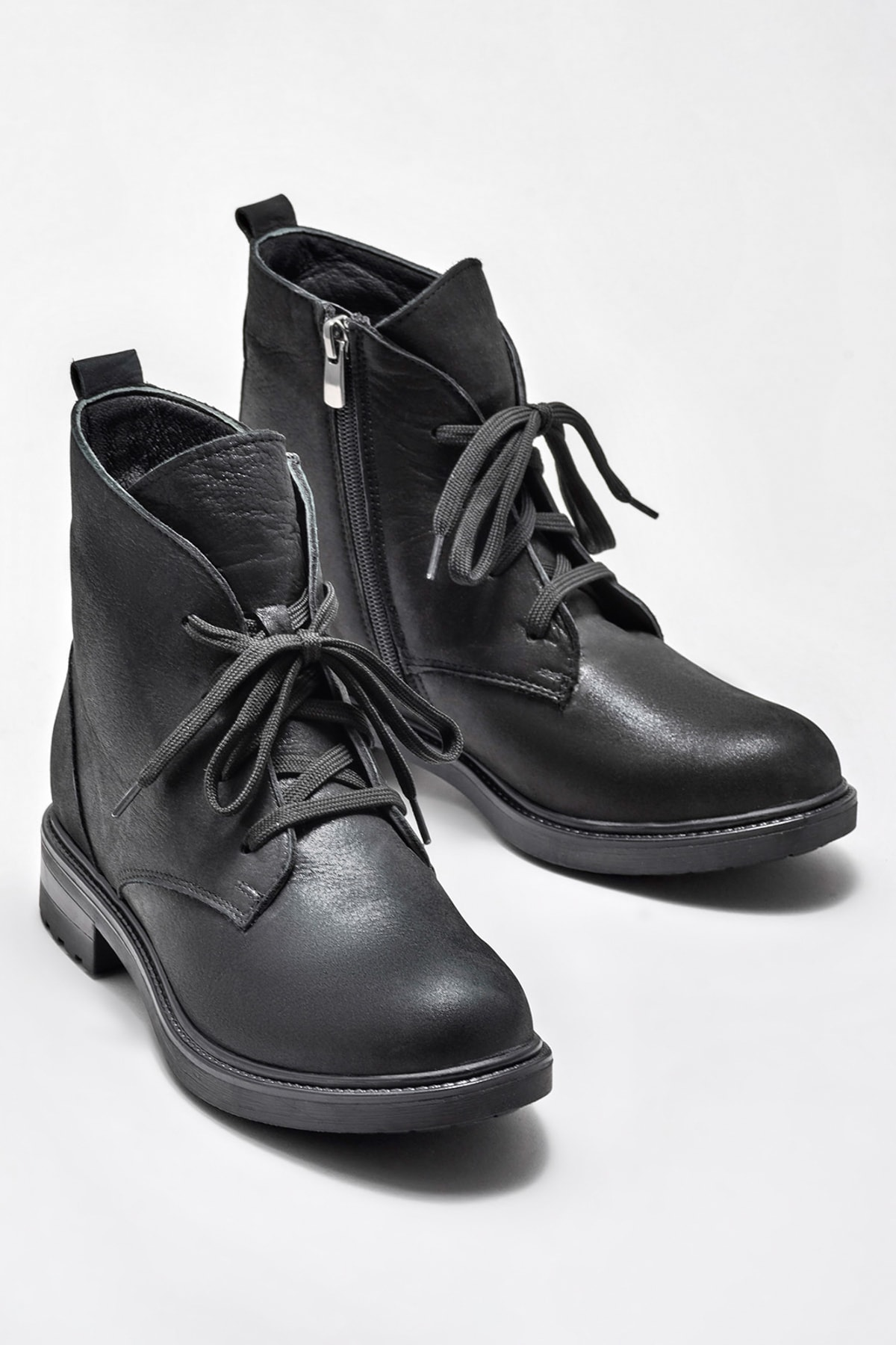 Elle Shoes MARITZA Hakiki Deri Siyah Simli Kadın Bot 2