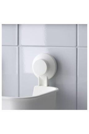 IKEA Beyaz Duş Sepeti Kare Meridyendukkan Banyo Raf Vantuzlu Sepet