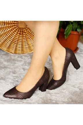 PUNTO Kadın Siyah Bronz Işlemeli Topuklu Ayakkabı