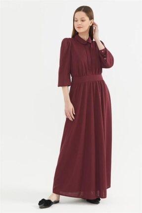 Kayra Bebe Yaka Kuşaklı Elbise Bordo A20 23140