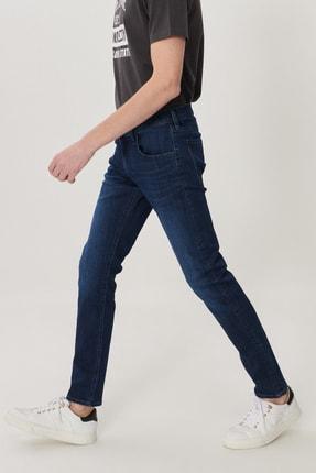 Lee Luke Erkek Koyu Mavi Slim Düşük Bel Dar Paça Esnek Jean Pantolon