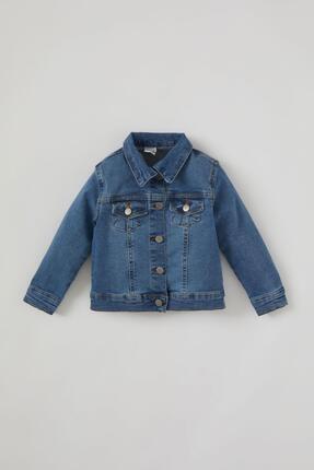 DeFacto Kız Bebek Mavi Jean Ceket