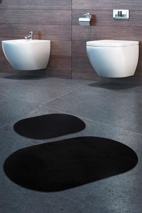 Bonny Home Rixos Siyah 2'li Banyo Halısı Paspası Seti Kaymaz Tabanlı Klozet Takımı