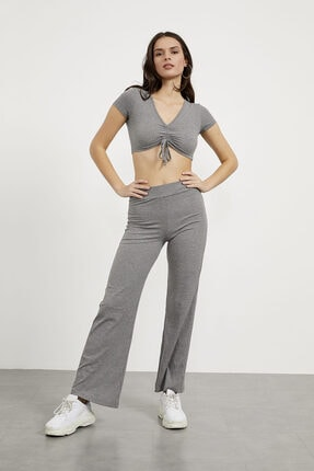 Arma Life Kadın V Yaka Önü Büzgülü Bluz Bol Paça Pantolon