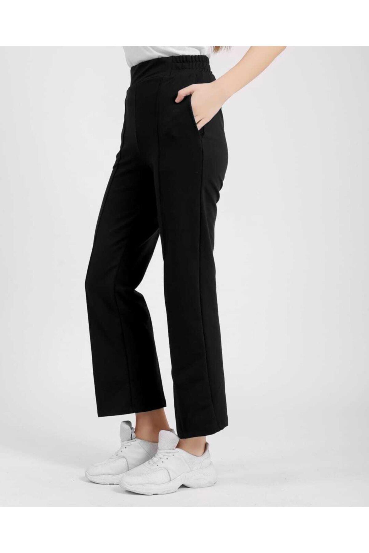 ZÜLEYHA NUR Kadın Siyah Likralı Beli Lastikli Trend Pantolon 1