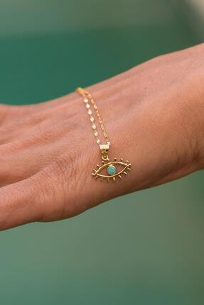 Bayar Gold Kadın 14 Ayar Altın Kirpikli Gözlü İtalyan Aynalı Kolye