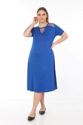 Womenice Kadın Mavi Omuzları Önü Fileli Büyük Beden Elbise