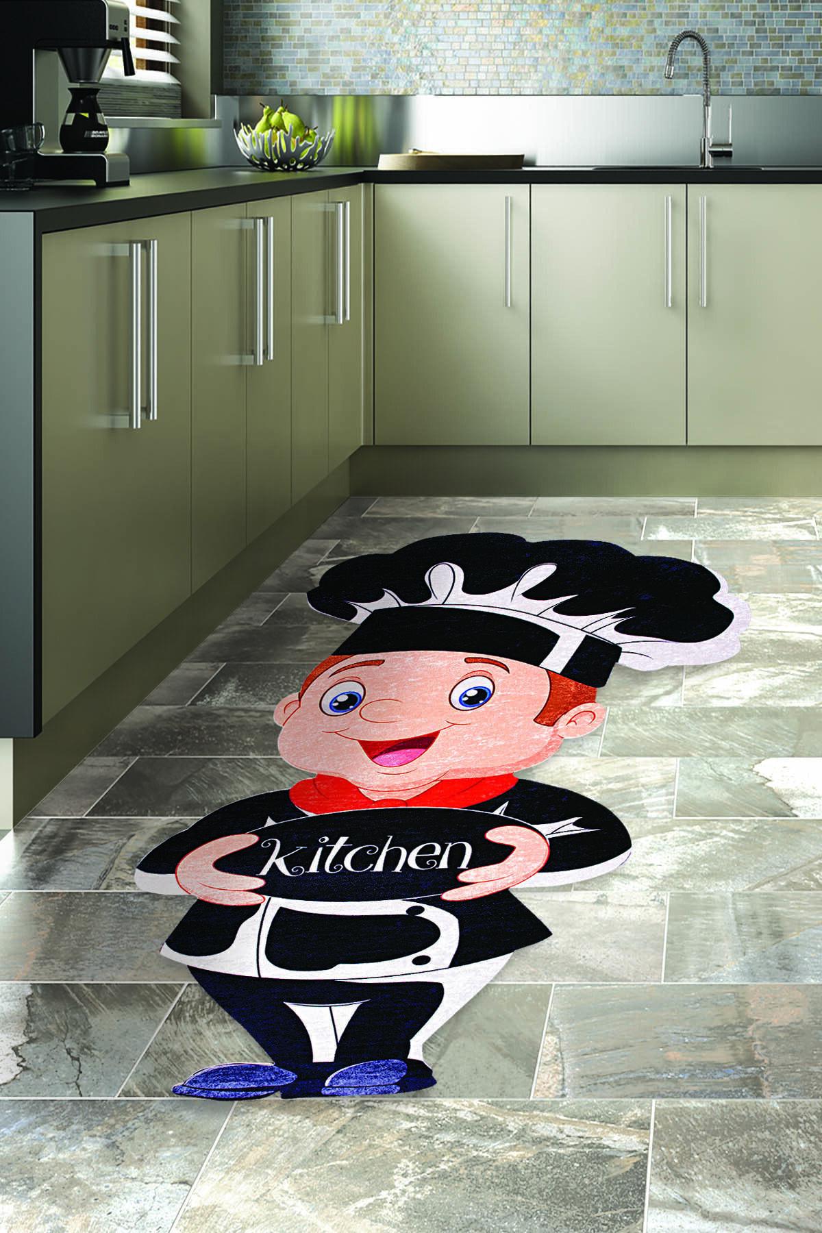 colizon Dekoratif Kaymaz Deri Tabanlı Lazer Kesim Mutfak Halısı 2