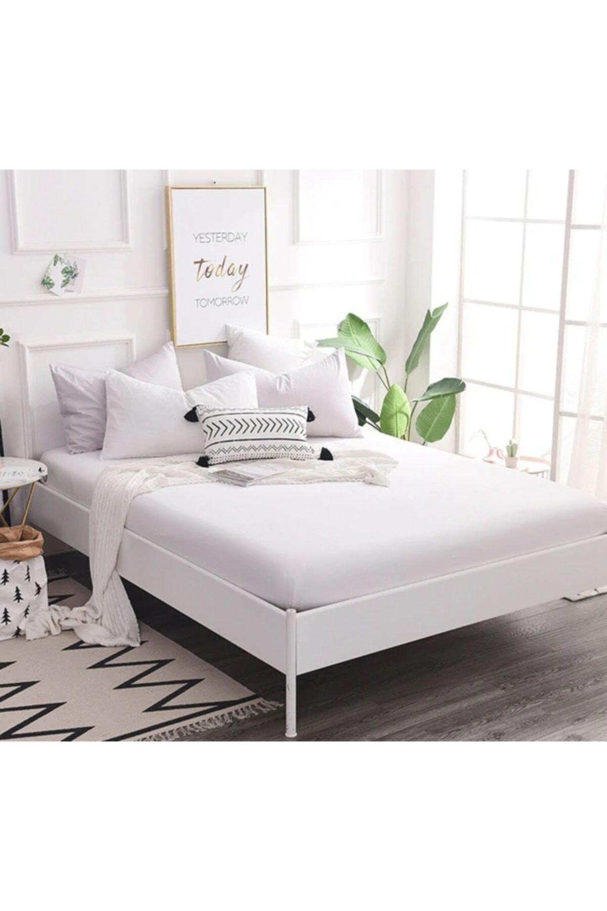 Komfort Home Beyaz Çift Kişilik Penye Lastikli Çarşaf 150x200 cm 1