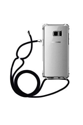 Molly Galaxy Note 5 Uyumlu Siyah Boyun Askılı Ipli Silikon Kılıf