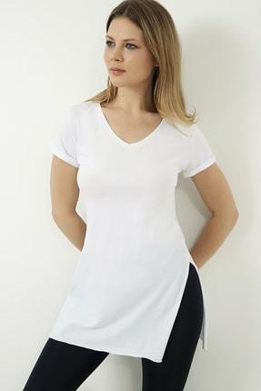 Vis a Vis Kadın Beyaz V Yaka Yırtmaçlı Uzun Tshirt