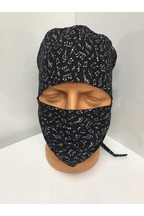 Mude Nota Desenli Siyah Bone-maske Takımı % 100 Pamuklu Yıkanabilir Kumaş