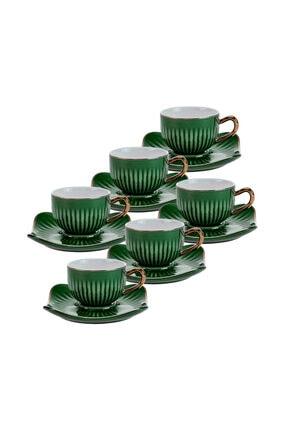 Emsan Nasip Yeşil 6 Kişilik Kahve Fincan Takımı